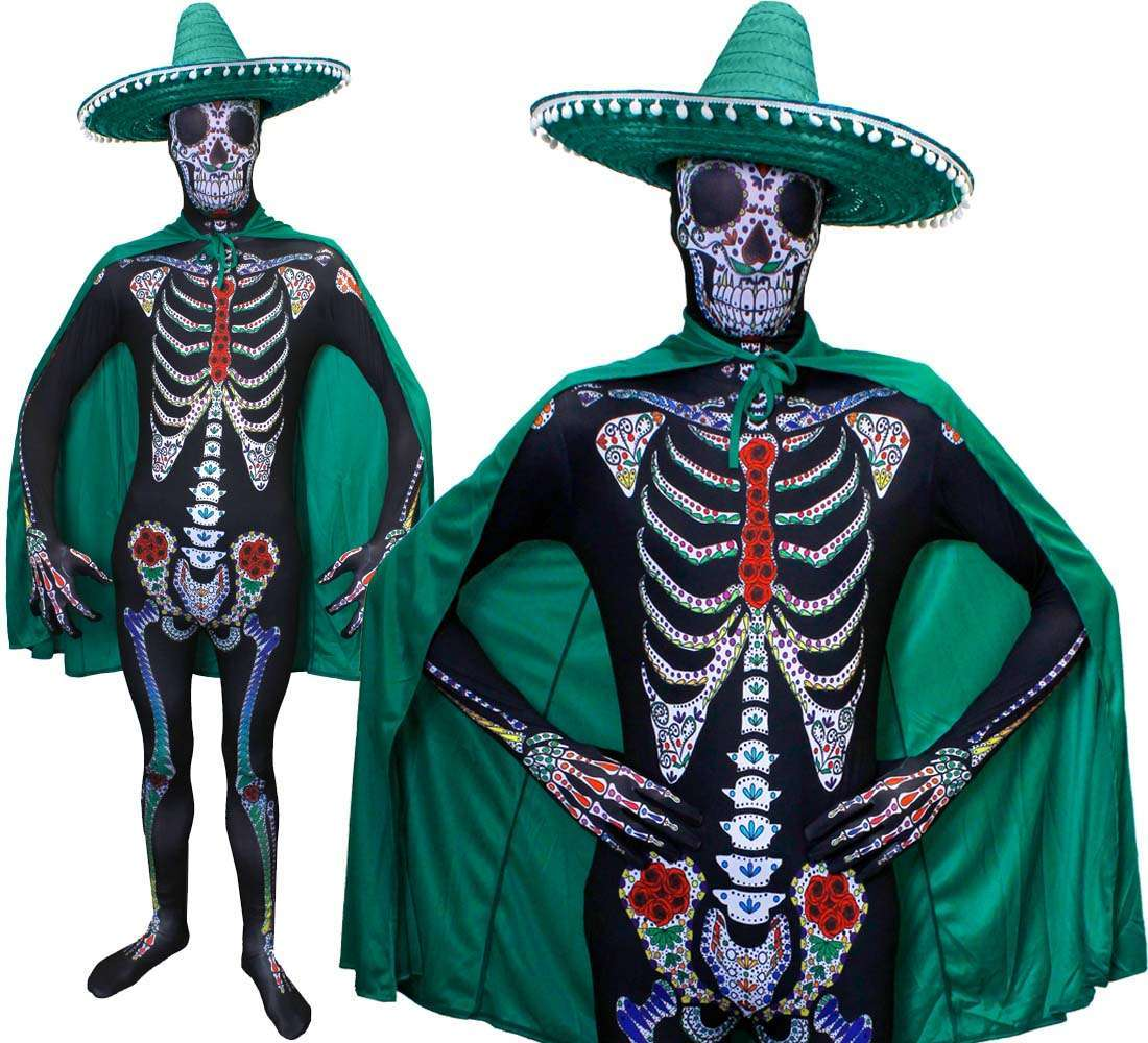 be73b00f10a Day of the Dead Sugar Skeleton Skinsuit - Green