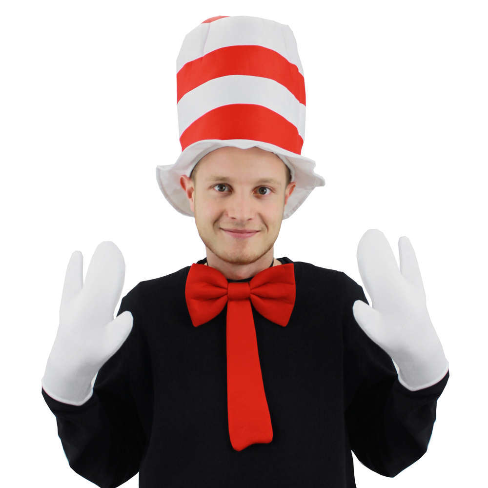 Adults Red And White Stripe Tall Cat Hat Childrens Fancy Dress Party Accessory