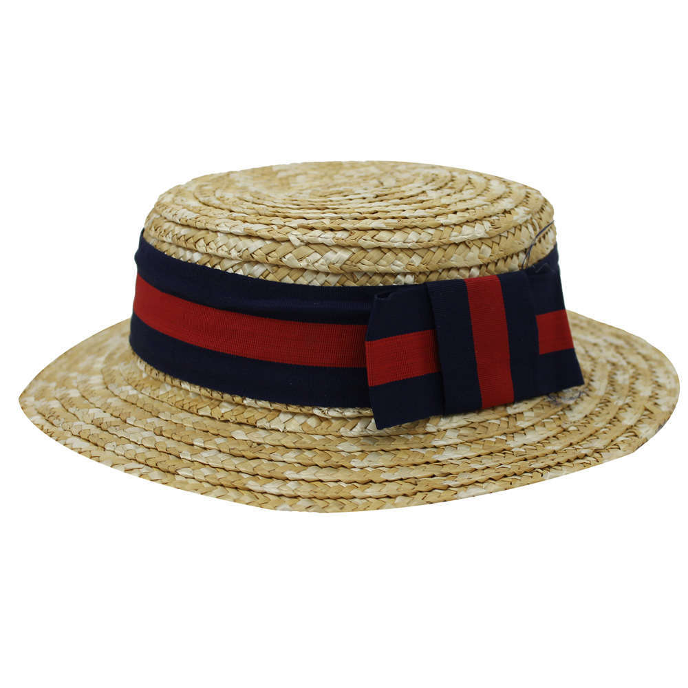 5bf63f743db8a Childs Straw Boater Hat - Red and Blue Ribbon - I Love Fancy Dress
