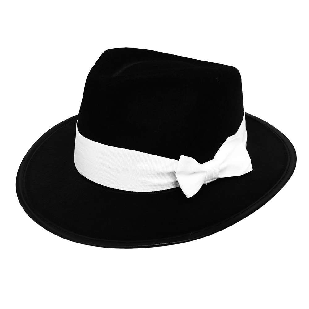 Black Trilby with White Band - I Love Fancy Dress ae6513f2ab2
