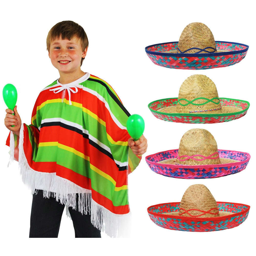fad96a95d0b62 Childs Mexican Poncho   Straw Sombrero - I Love Fancy Dress