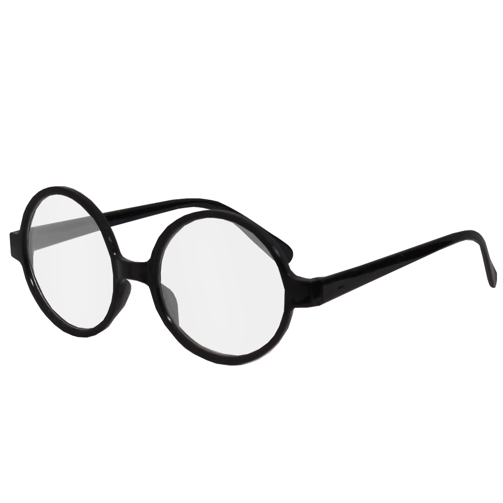 61538a94512 Black Round Geek Glasses with Lens - I Love Fancy Dress
