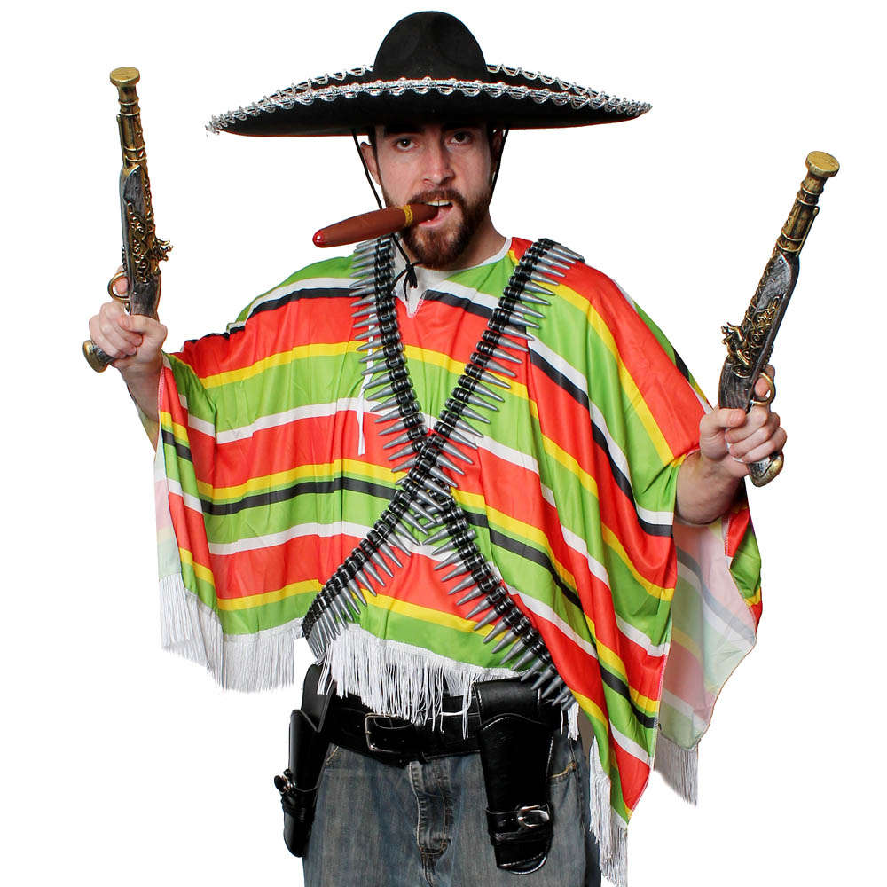 MEXICAN PONCHO FANCY DRESS ADULT MEXICO PARTY BANDIT COSTUME MULTI COLOURED