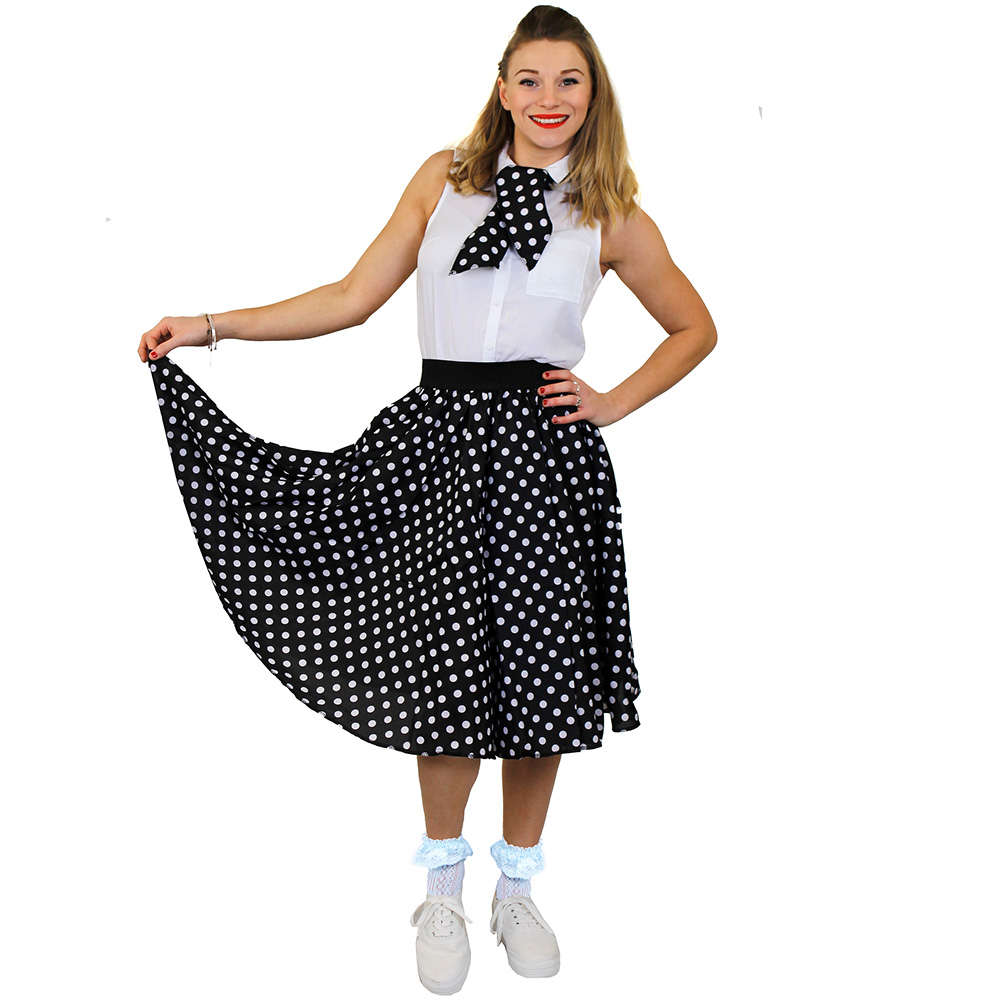 3de9c1a9a56 Ladies Long Polka Dot Skirt - Black with White Spots - I Love Fancy Dress