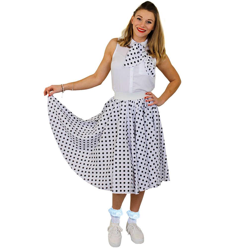 4dd14eaf533 Ladies Long Polka Dot Skirt - White with Black Spots - I Love Fancy Dress