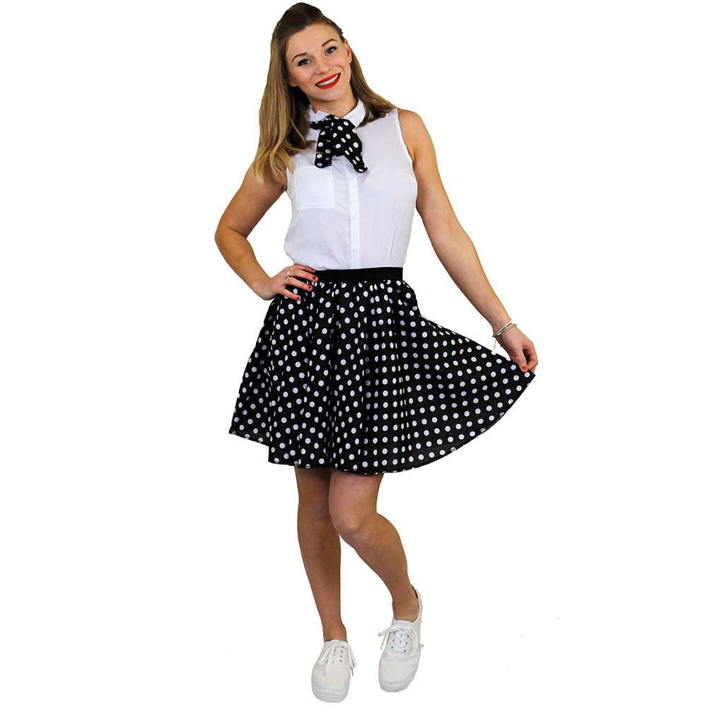 4f08cecfe4d Ladies Short Polka Dot Skirt - Black with White Spots - I Love Fancy Dress