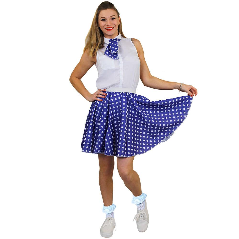 86ebd0637ab56 Ladies Short Polka Dot Skirt - Blue with White Spo