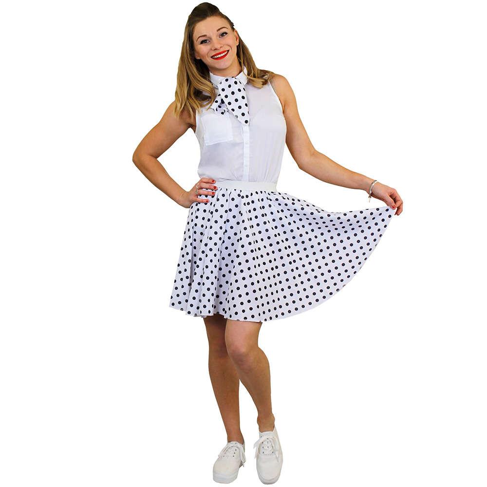 be94cfbdada Ladies Short Polka Dot Skirt - White with Black Spots - I Love Fancy Dress