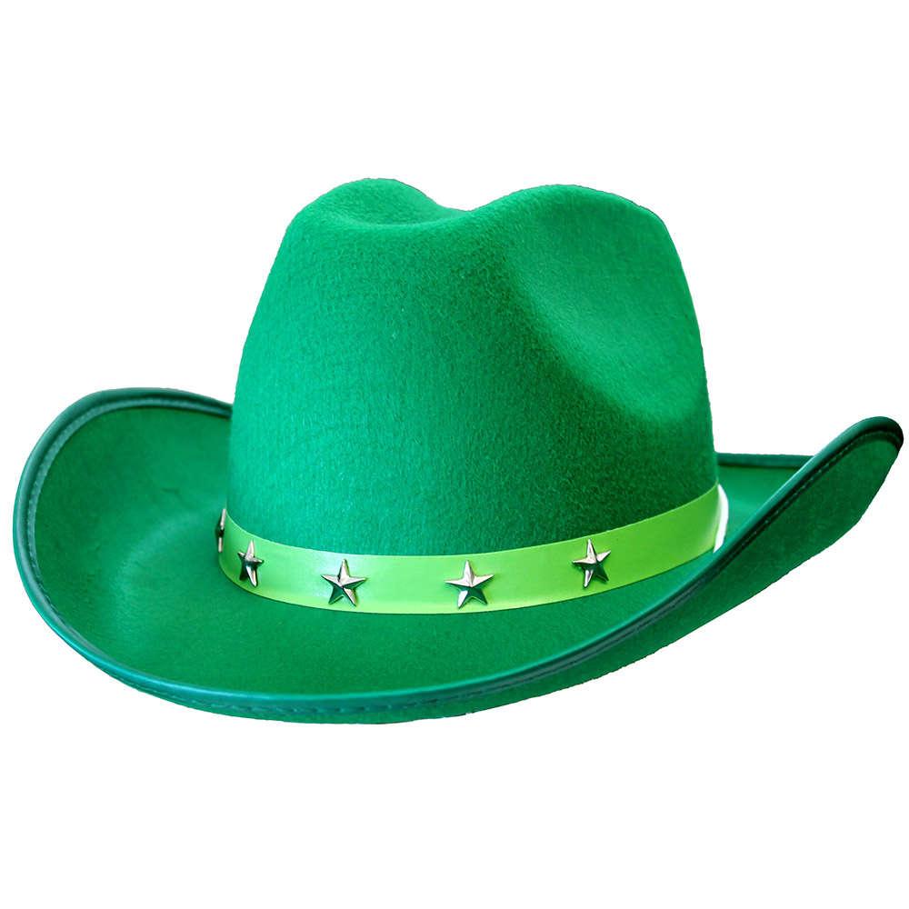 8fa67a99566 Green Star Studded Cowboy Hat - I Love Fancy Dress