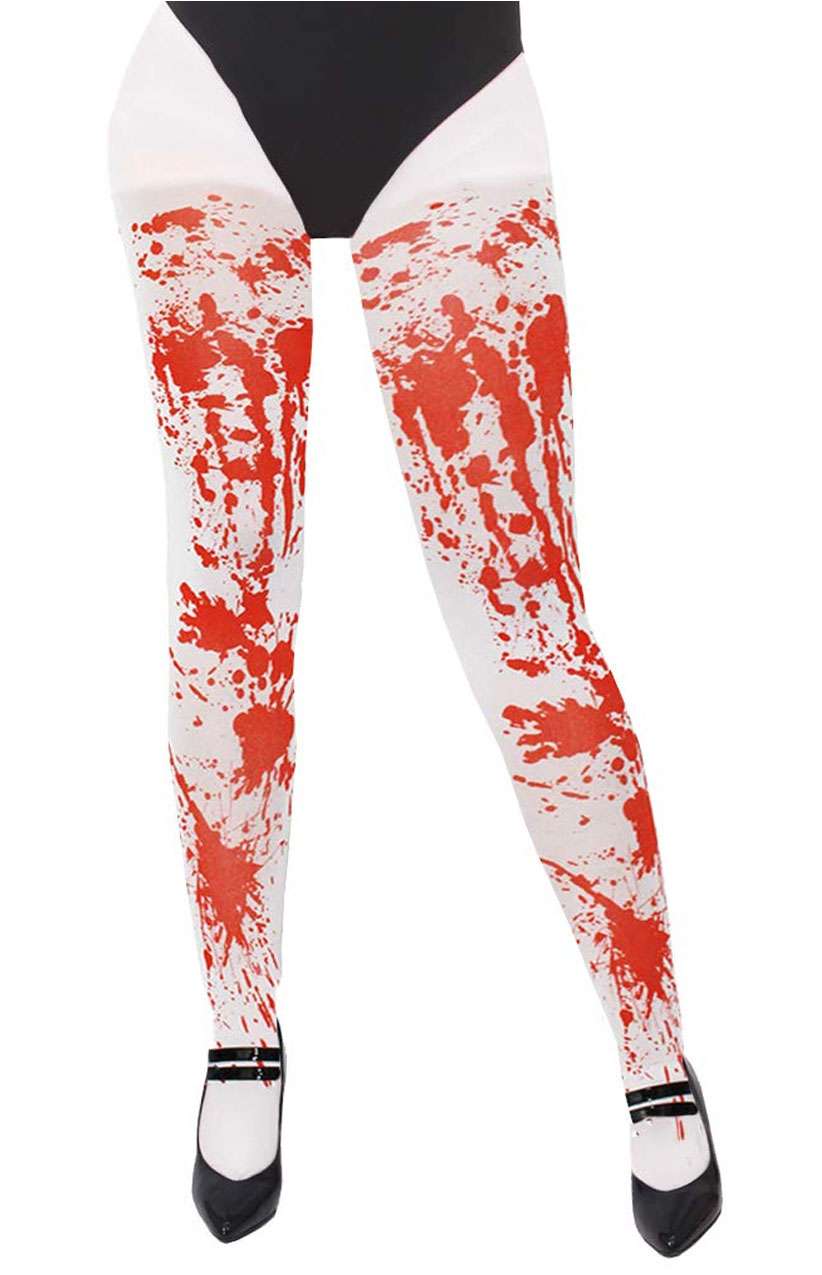 Halloween One Size Spooky Scary Blood White Tights Fancy Dress Costume Bloody